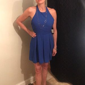 NWT AKIRA Electric Blue Halter Swing Mini Dress